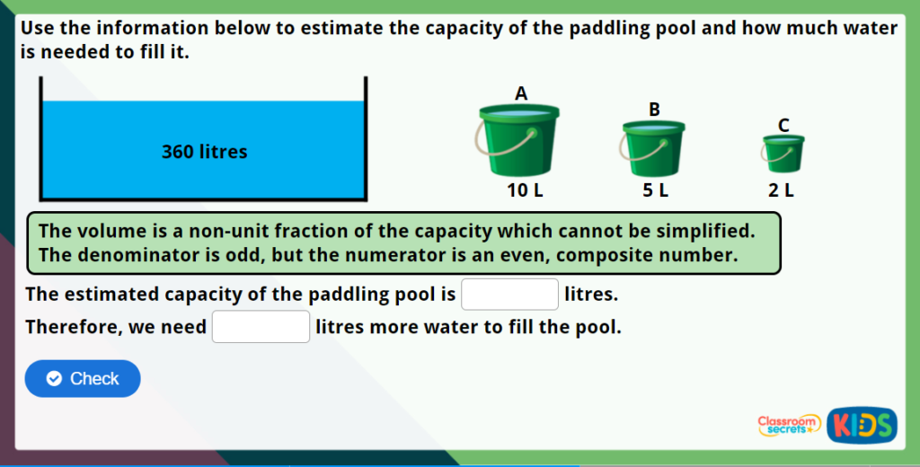 Year 5 Estimate Capacity Maths Challenge
