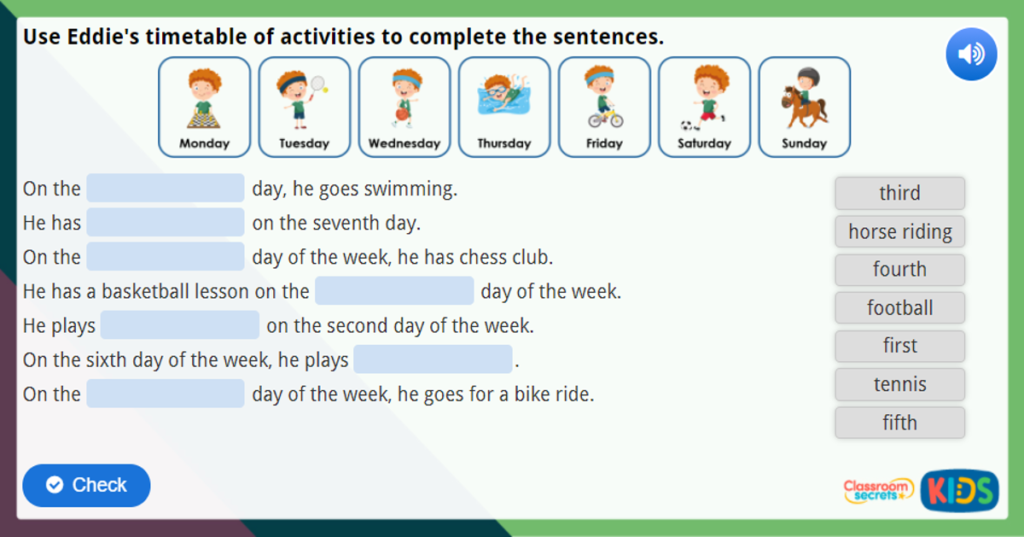 Year 1 Ordinal Numbers Maths Challenge