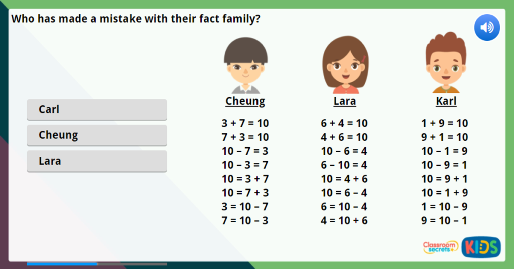 Year 1 Fact Families - 8 Facts Maths Challenge