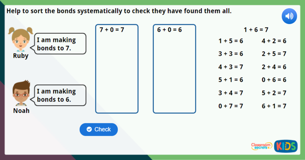 Year 1 Systematic Number Bonds Maths Challenge