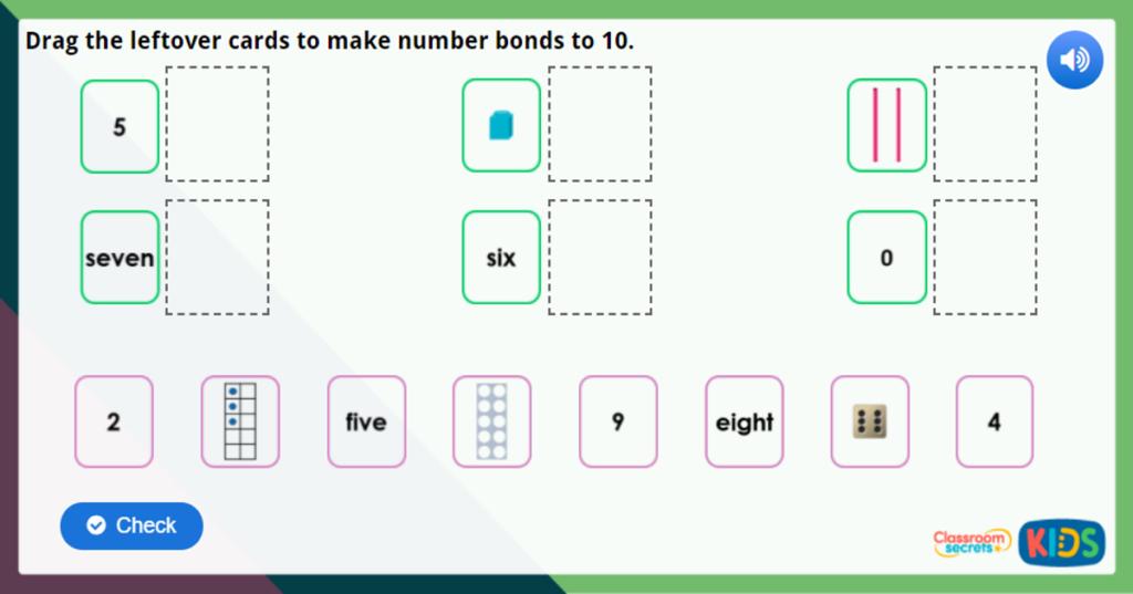 Year 1 Number Bonds to 10 Maths Challenge