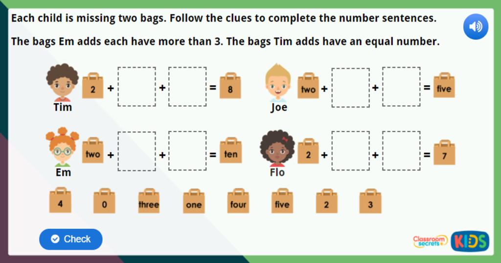 Year 1 Adding More Maths Challenge