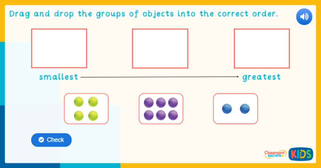 Reception Ordering Groups of Objects Game
