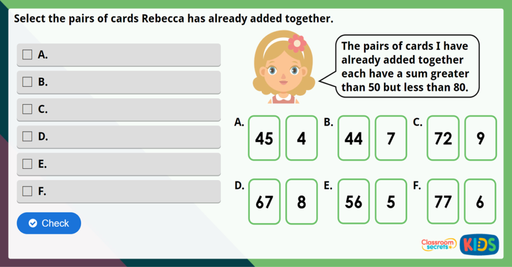 Year 2 Add 2-Digit and 1-Digit Numbers Challenge