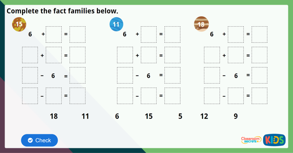 Year 2 Fact Families Challenge