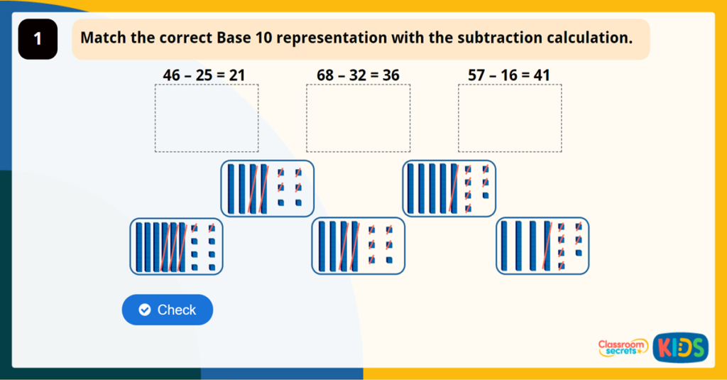 Year 2 Subtract with 2 Digits 1 Game