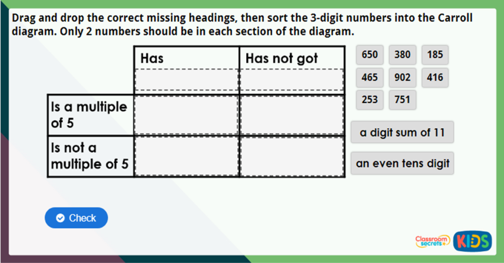 Year 3 100s 10s and 1s Maths Challenge