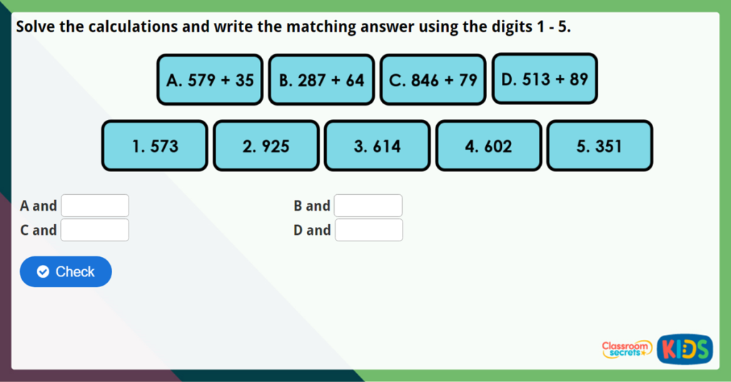Year 3 Add 2-Digit and 3-Digit Numbers Maths Challenge