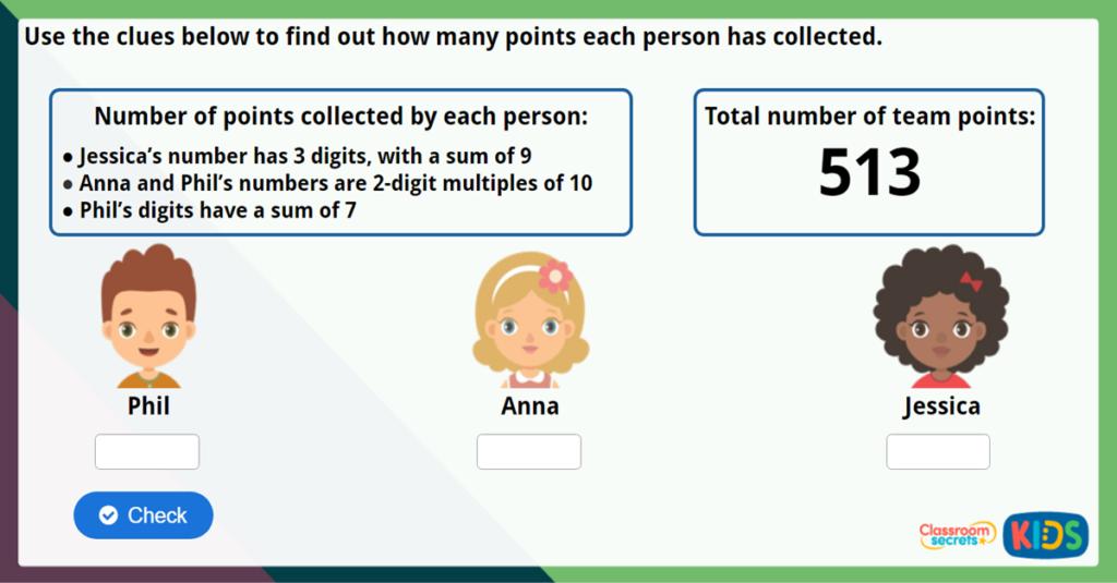 Year 3 Add 3 Digit Numbers Maths Challenge