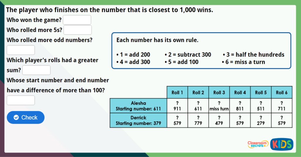 Year 3 Add and Subtract 100s Maths Challenge