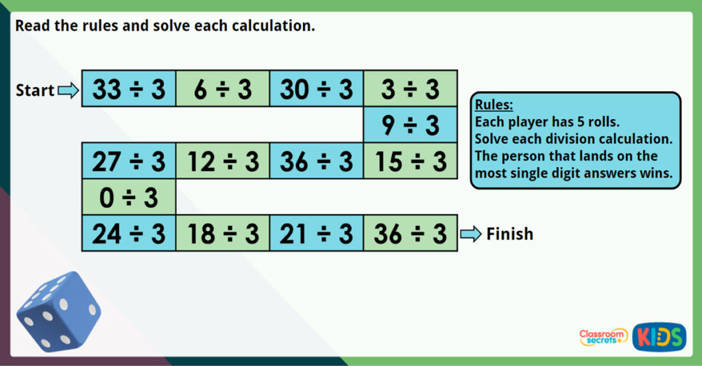 Year 3 Divide by 3 Maths Challenge