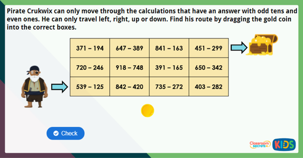 Year 3 Subtract 3 Digits from 3 Digits 2 Challenge