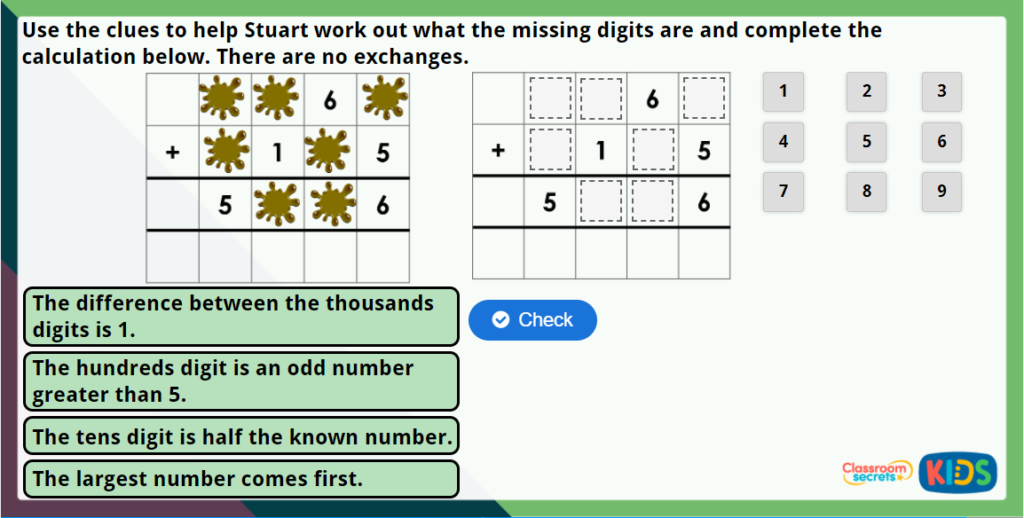 Year 4 Add Two 4-Digit Numbers 1 Maths Challenge