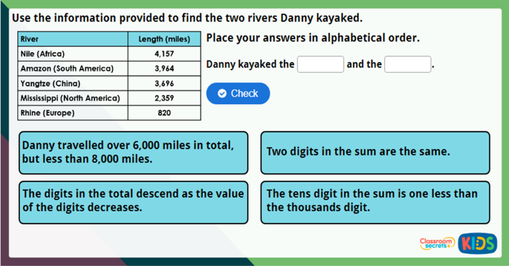 Year 4 Add Two 4-Digit Numbers Challenge