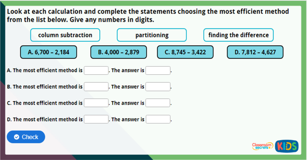Year 4 Efficient Subtraction Challenge