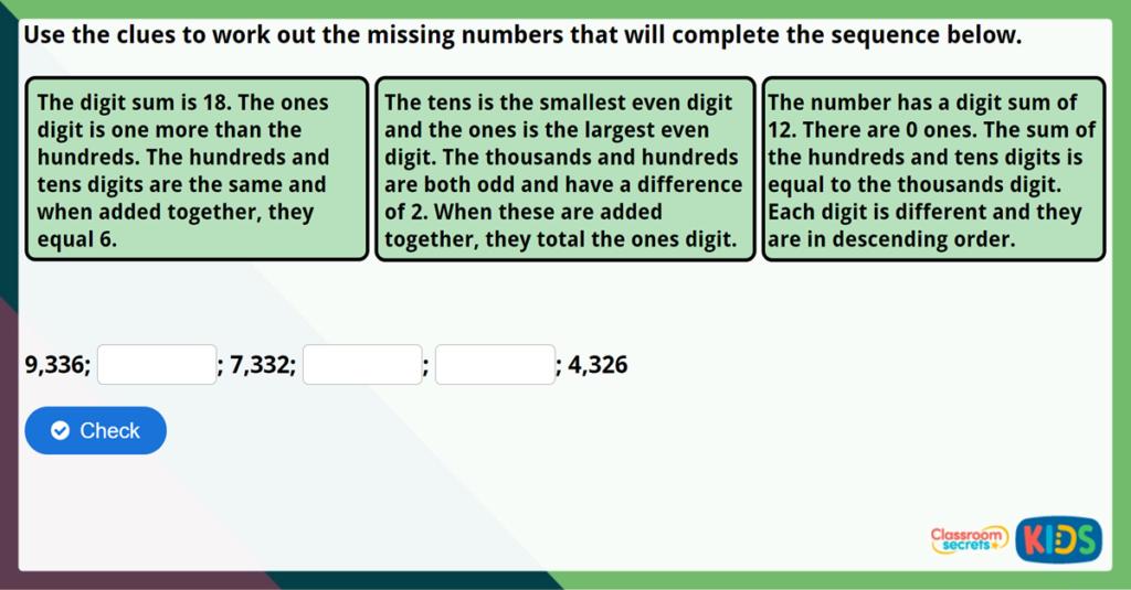 Year 4 Ordering Numbers Challenge