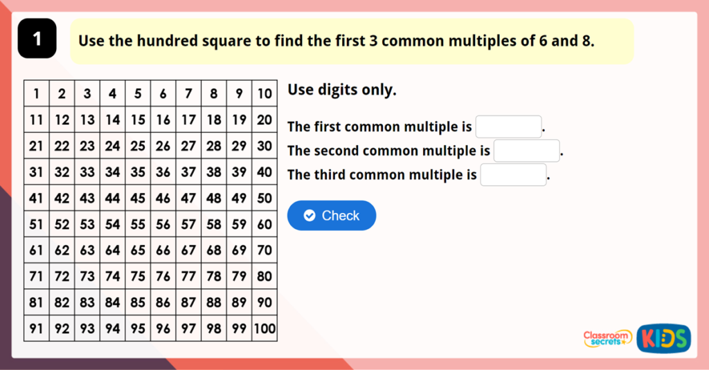 Year 6 Common Multiples Game