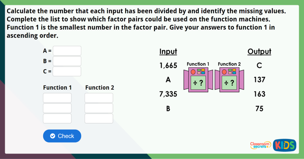 Year 6 Division Using Factors Challenge