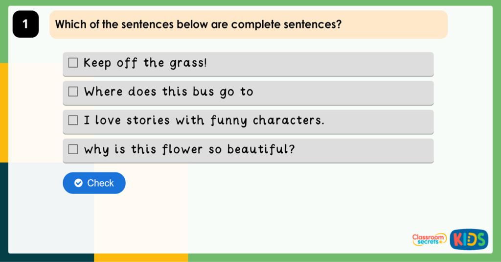 Year 2 Recognising Sentences Game
