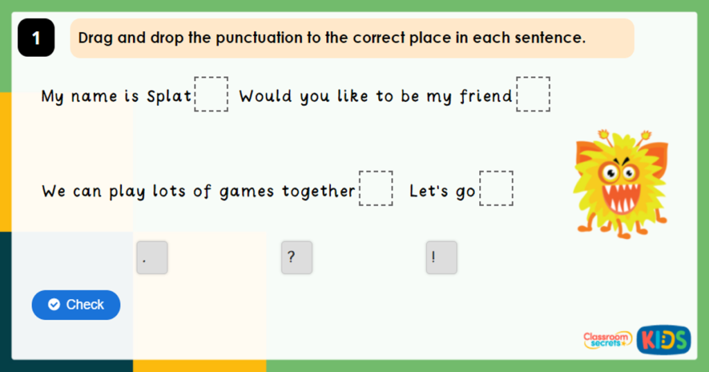 Year 2 Full Stop, Question Marks and Exclamation Marks Game