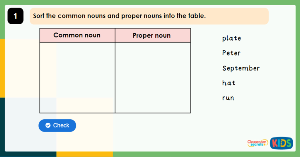 Year 2 Recognising Common Nouns and Proper Nouns Game