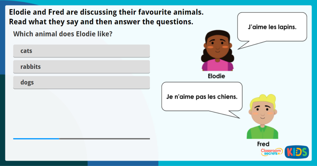 LKS2 French Animal Likes and Dislikes