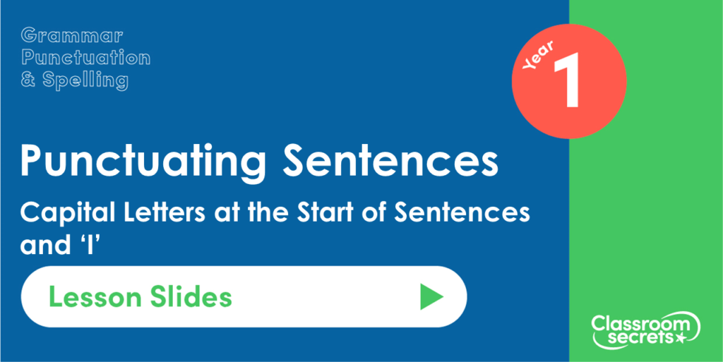 Capital Letters at the Start of Sentences and 'I' Year 1 Lesson Slides