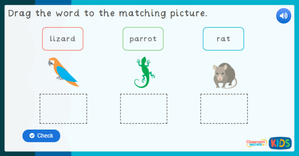 Reception Pets Labelling Game