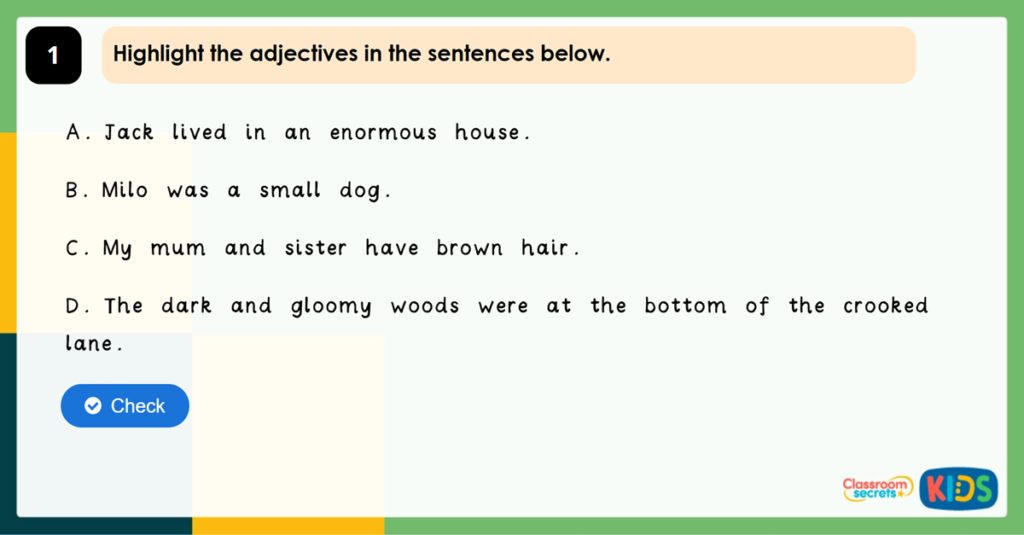 Year 2 Using Adjectives in Sentences Game