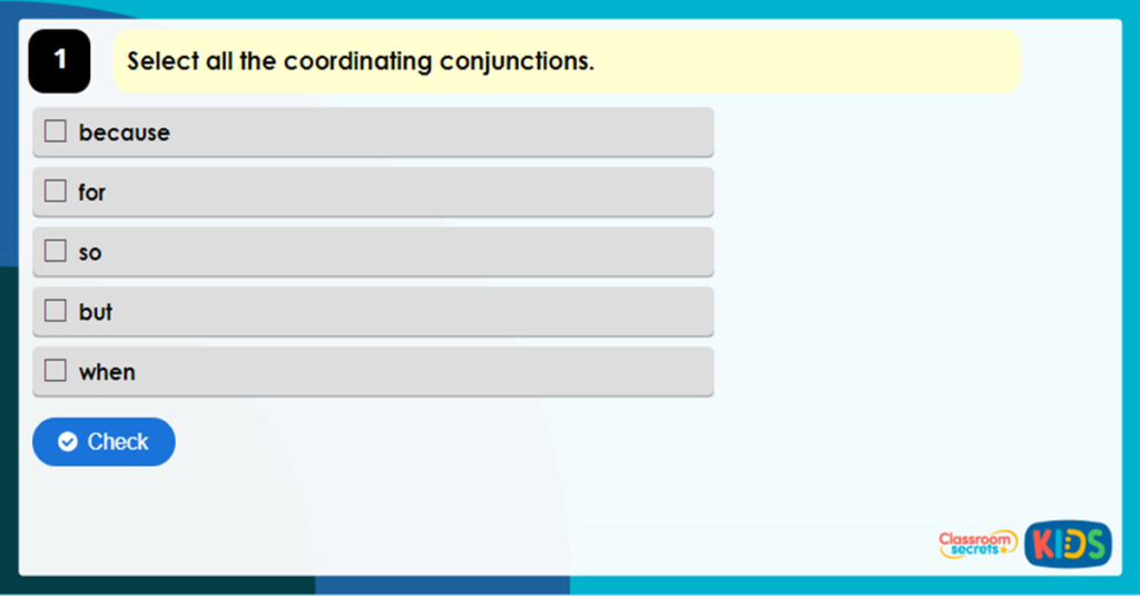 Year 3 Coordinating Conjunctions Game