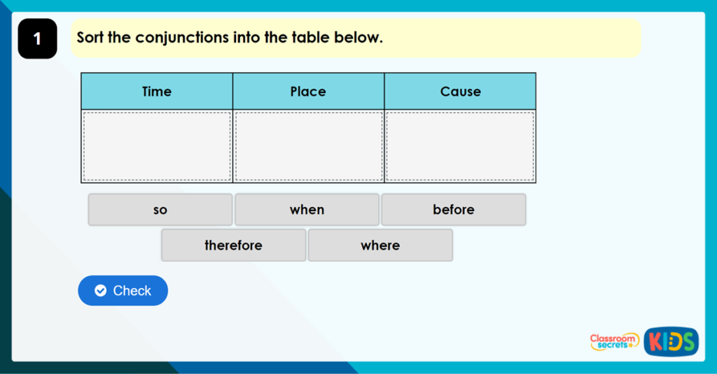 Year 3 Using Conjunctions to Express Time, Place and Cause Game