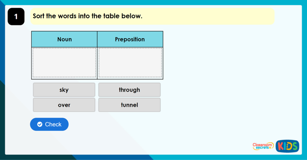 Year 3 What is a Preposition? Game