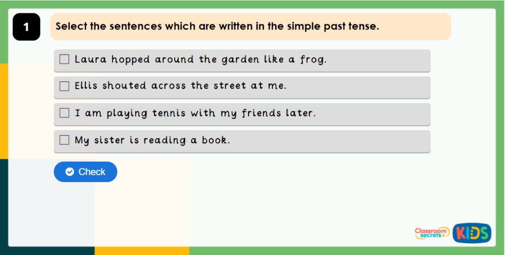 Year 4 Past Tense Prior Learning Game