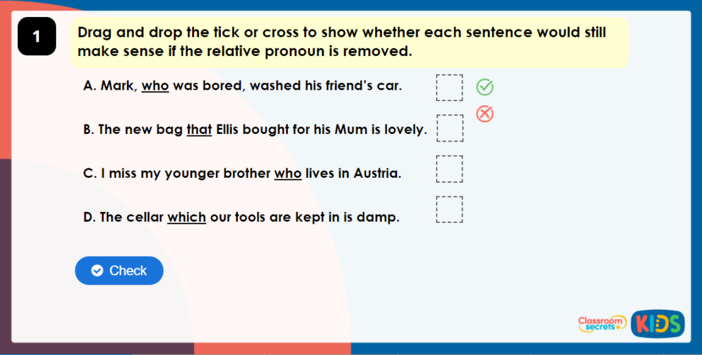 Year 5 Omitting Relative Pronouns Game