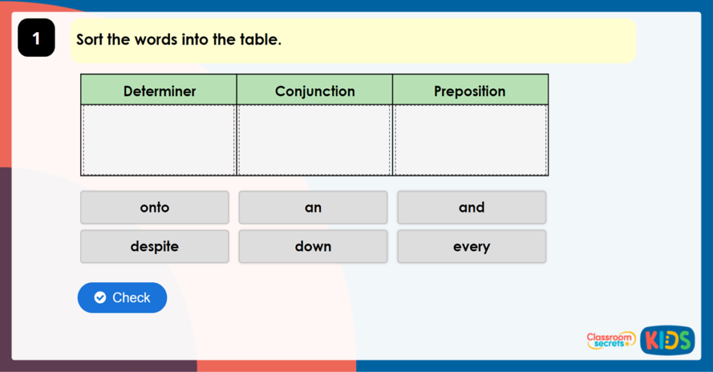 Year 6 Determiners, Conjunctions and Prepositions Game