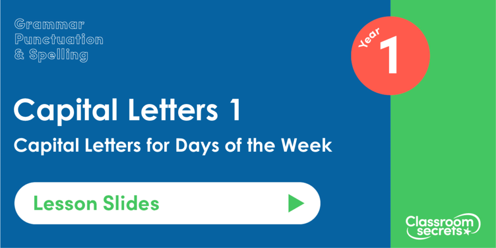 Capital Letters for Days of the Week Year 1 Lesson Slides