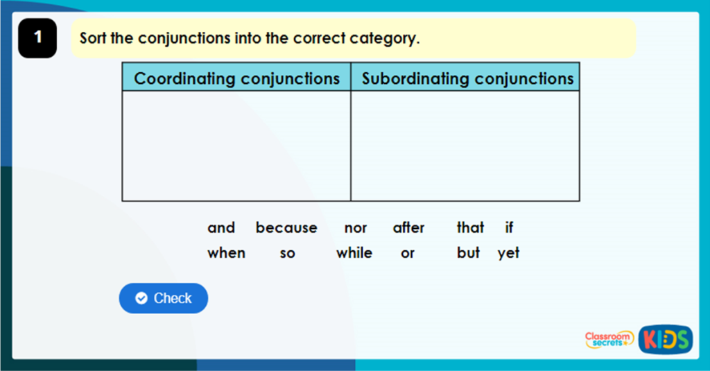 Year 3 Subordinating Conjunctions Game