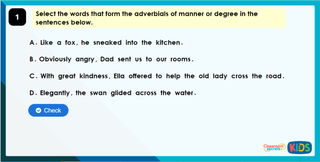Year 4 Descriptive Fronted Adverbials Interactive Game Image