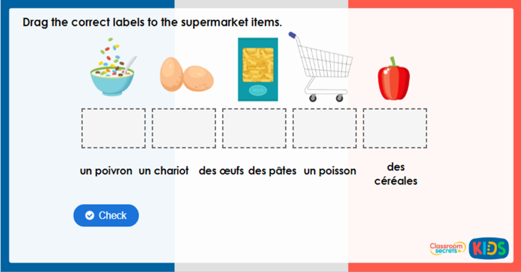 Year 4 French at the Supermarket Game