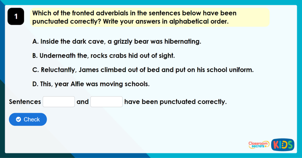 Year 4 Fronted Adverbials Game