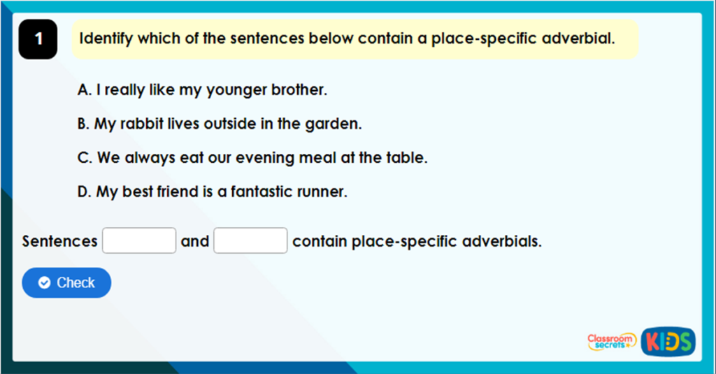 Year 4 Place Specific Adverbials Game