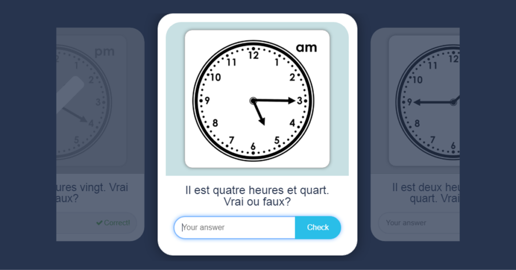 Year 5 French Telling the Time Flashcards